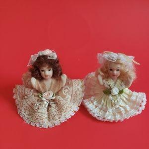 2 Vintage Antique Sitting Buddha Pose Mini Dolls